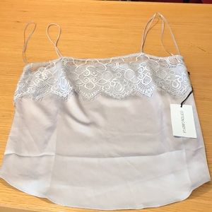 Cotton Candy L A silver tank w/lace size Med